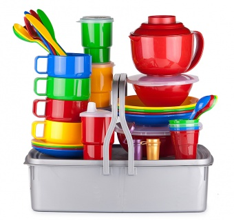 """Дорожный набор посуды на 4 персоны """"Семейный-3"""" в контейнере 10л с герметичной крышкой и двумя ручками"""