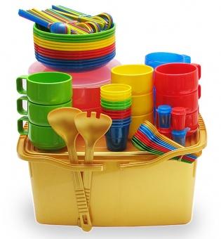 """Дорожный набор посуды на 12 персон """"Дюжина друзей-2"""" в контейнере 17л с герметичной крышкой и двумя ручками"""