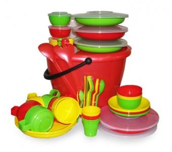 "Набор посуды для пикника на 6 персон ""Пчелка"" в футляре"